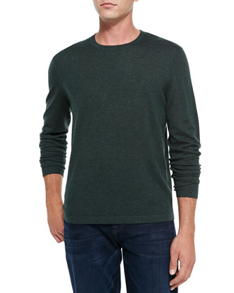 Superfine Cashmere Crewneck Sweater, Dark Green