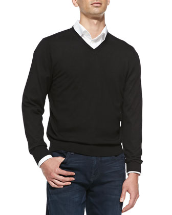 Superfine Cashmere V-Neck Sweater, Black