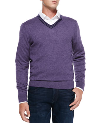 V-Neck Pullover Cashmere Sweater, Lavender/Navy Stripe