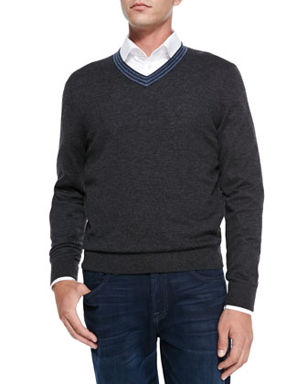 V-Neck Pullover Cashmere Sweater, Charcoal/Denim Stripe