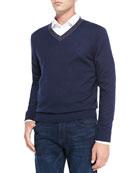 V-Neck Pullover Cashmere Sweater, Navy/Brown Stripe