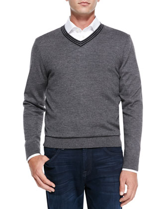 V-Neck Pullover Cashmere Sweater, Gray/Black Stripe