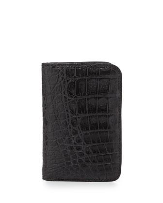 Crocodile Fold-Over Card Case, Black