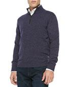 Nano-Cashmere 1/4-Zip Pullover, Dark Purple