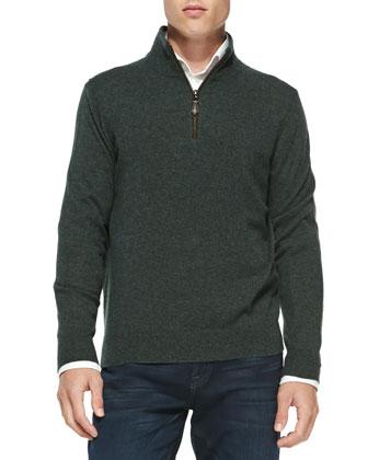 Nano-Cashmere 1/4-Zip Pullover, Dark Green