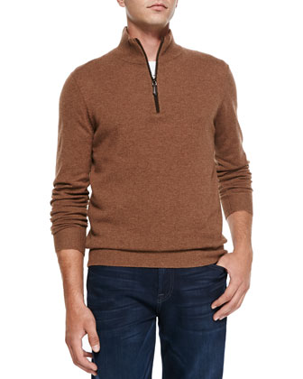 Nano-Cashmere 1/4-Zip Pullover, Brown