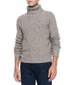 Marled Super Yak-Merino Turtleneck Sweater, Beige