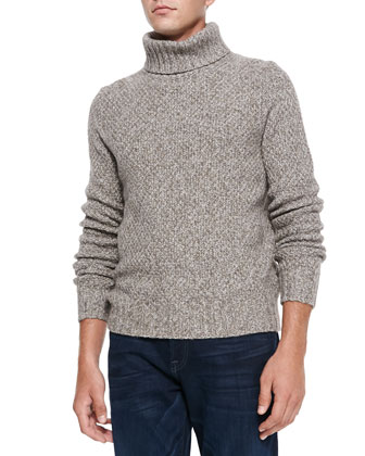 Marled Super Yak-Merino Turtleneck Sweater, Beige