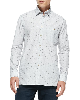 Luke Dot Long-Sleeve Shirt, White/Blue