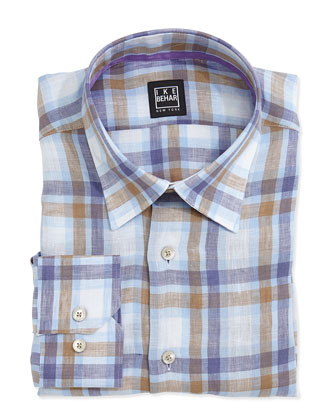 Marty Plaid Linen Dress Shirt, Brown/Blue