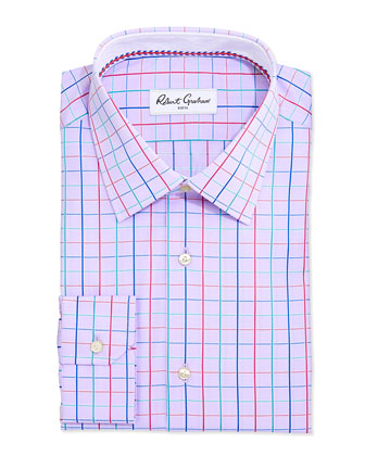 Norm Graph-Check Jacquard Dress Shirt, Lavender