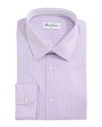 Steve Stripe Dress Shirt, Lavender