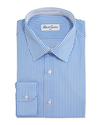 Steve Striped Jacquard Dress Shirt, Blue