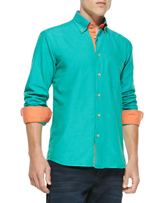 Crawford Contrast Shirt, Teal