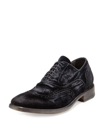 Velvet Wing-Tip Loafer, Navy