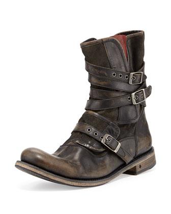 Engineer Triple-Buckle Boot, Black
