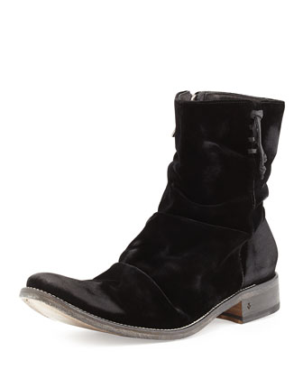 Sharpei Distressed Velvet Boot, Black