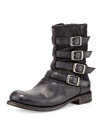Engineer 4-Buckle Boot, Black