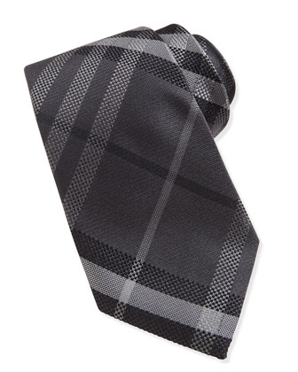 Textured Check Silk Tie, Charcoal