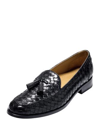 Bogart Woven Tassel Loafer, Black