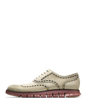 ZeroGrand Suede Wing-Tip Oxford, Mushroom