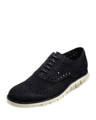 ZeroGrand Suede Wing-Tip Oxford, Black