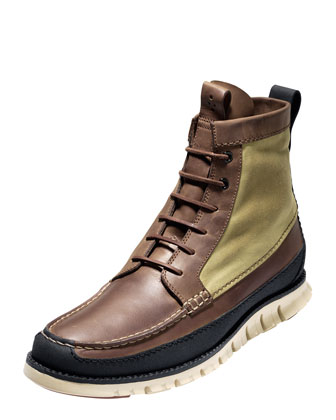 ZeroGrand Leather & Canvas Tall Boot