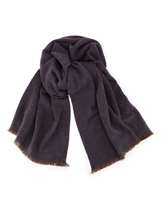Sciarpa Siena Baby Cashmere Scarf, Blue/Brown