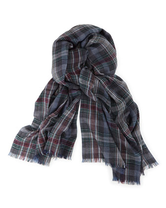 Cashmere Plaid Soft Air Scarf, Blue/Green