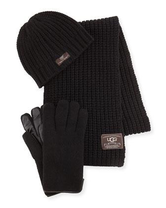 Men's Beanie, Scarf, and Glove Box Set, Black
