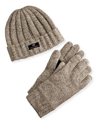 Men's Hat and Glove Box Set, Oatmeal
