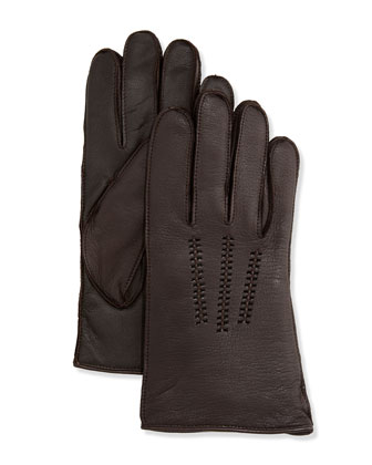 Men's Leather Smart Gloves, Brown