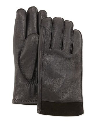 Men's Gibson Leather Gloves, Black