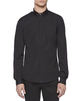 Leather Collar Poplin Duke Shirt, Black