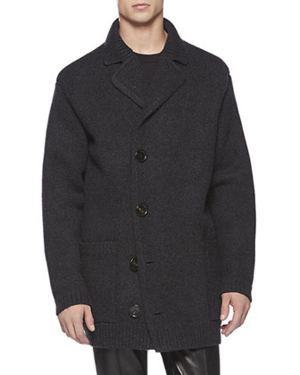 Felted Wool and Cashmere Coat, Gray
