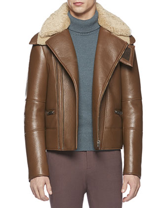 Leather Jacket with Shearling Fur Collar, Alpaca-Blend Turtleneck Sweater & ...