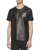 Leather Front Tee, Black