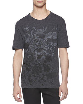Floral-Print Tee, Charcoal