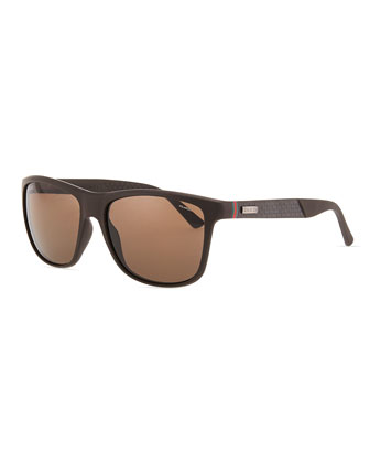 Matte Plastic Wrap Sunglasses, Brown