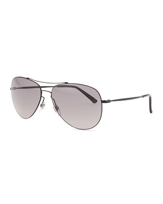 Shiny Metal Aviator Sunglasses, Black
