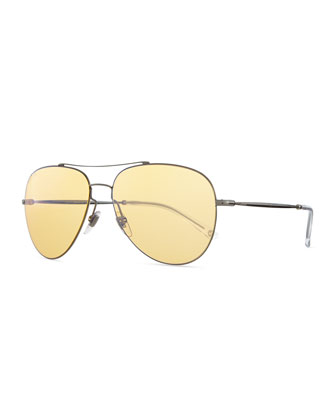 Flash-Lens Aviator Sunglasses, Dark Ruthenium