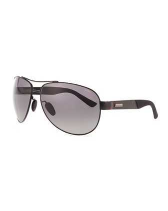 Stainless-Steel Aviator Sunglasses, Black