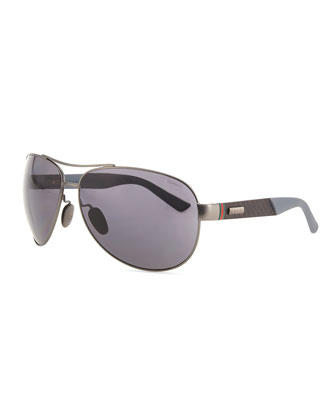 Stainless-Steel Aviator Sunglasses