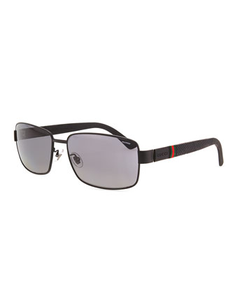 Matte Stainless-Steel Sunglasses, Black