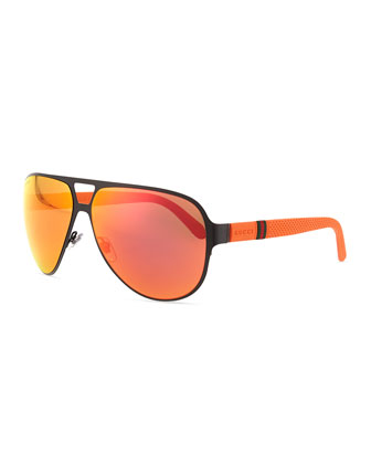 Matte Metal Aviator Sunglasses, Black/Orange