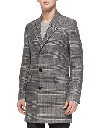 Glen Plaid Wool-Blend Coat, Black/White