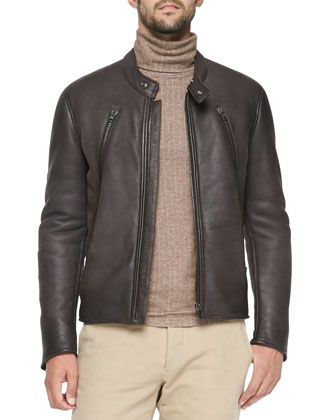 Shearling-Lined Leather Moto Jacket, Brown