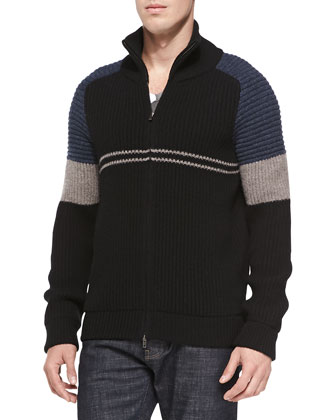 Colorblock Ribbed-Knit Zip Cardigan, Navy