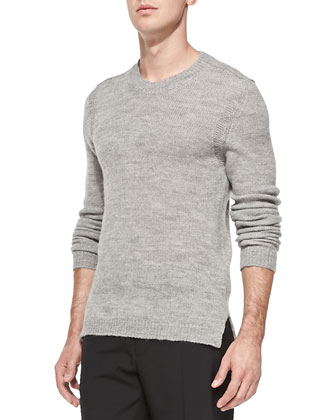 Wool/Alpaca Crewneck Sweater, Gray