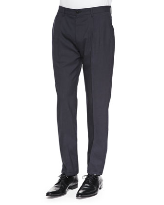 Pleated Wool/Mohair Trousers, Dark Navy